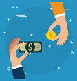 hands with coins and bills dollars money vector image vector image