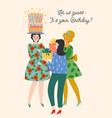 happy birthday cute women vector image vector image