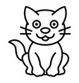 happy cat icon outline style vector image