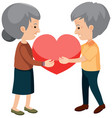 happy grandparents holding heart vector image vector image