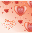 happy valentine day card - pink heart air balloons vector image