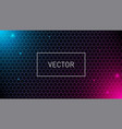 hexagonal grid background with pink and blue glows vector image