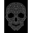 human skull from Floral elements on a black vector image vector image