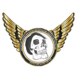 label with skull vector image vector image