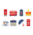 london symbols set england elements red bus tea vector image