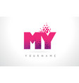 my m y letter logo with pink purple color and vector image vector image