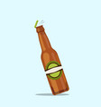 opening beer bottle on a blue background vector image