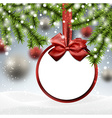 Paper bauble on spruce branches vector image vector image