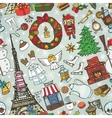 Paris winterDoodle christmas symbols seamless vector image vector image