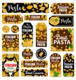 pasta spaghetti and macaroni italian spice herbs vector image vector image