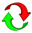 recycle symbol red and green hand drawn sketch vector image vector image