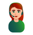 red hair call center woman icon cartoon style vector image vector image