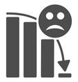 sad decline trend flat icon vector image vector image