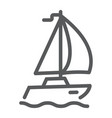 sail yacht line icon travel and tourism vector image vector image