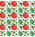 seamless background design with red apples vector image