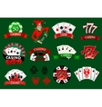 set colorful casino icons and emblems vector image vector image