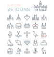 Set Flat Line Icons Ottawa vector image vector image