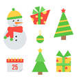 Set of cute christmas and new year icons vector image vector image