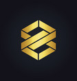 shape infinity eight gold logo vector image