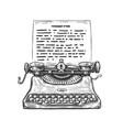 sketch retro typewriter hand drawn vintage vector image