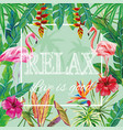 slogan relax live is good flowers leaves flamingo vector image
