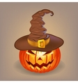 Sly pumpkin in a witch hat for Halloween vector image vector image