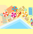 swimming pool top view sunbeds and umbrellas vector image