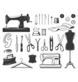 tailor and seamstress tools sewing equipment set vector image vector image