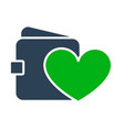 wallet with heart colored icon money insurance vector image vector image