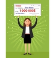 Woman with check for one million dollars in hands vector image vector image