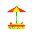 wooden sandbox with colorful umbrella outdoor vector image