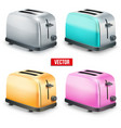 Set of Bright retro toasters isolated on white vector image