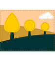 Stitched landscape with trees and cloud vector image