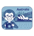 Teaser with photographer travels through Australia vector image