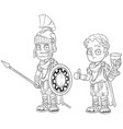 cartoon roman imperator with spear character set vector image