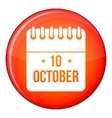 10 october calendar icon flat style vector image vector image