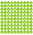 100 top hat icons set green circle vector image vector image