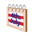 4 July CalendarIndependence Day USA cartoon icon vector image vector image