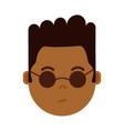 african boy head emoji personage icon with facial vector image vector image