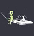 alien makes selfie with astronaut vector image vector image