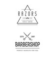 barber shop set of two emblems in monochrome vector image vector image