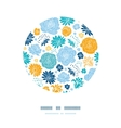 Blue and yellow flowersilhouettes circle decor vector image vector image
