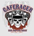 cafe racer 3 skulls wearing helmets hand vector image vector image