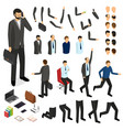 cartoon businessman character creation set vector image vector image