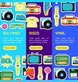 cartoon eighties style symbol banner vecrtical set vector image vector image