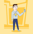 casual guy take selfie with smart phone posing vector image vector image