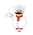 chef with mustache holding silver serving dome vector image