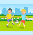 children playing football pupil and school vector image vector image