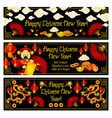 chinese new year golden decoration banners vector image