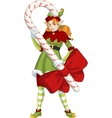 Christmas elf red Caucasian girl with Candy vector image vector image